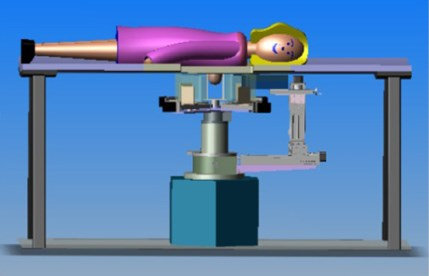 The schematic shows a woman on a table face down with the breast examinign equipment underneath the table.