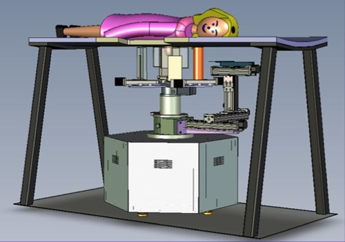 Chematic shows a woman laying on atable with the imaging equipment below the table