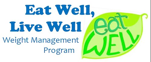 Eat Well Live Well Weight Management Program With a Green Leaf in the Background