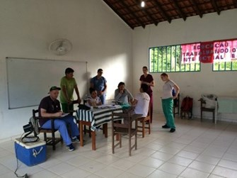 Students in a clinic in Brazil