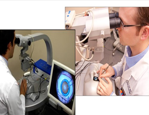 Two Separate images of Residents practice surgery on the department's Eyesi Surgical Simulator