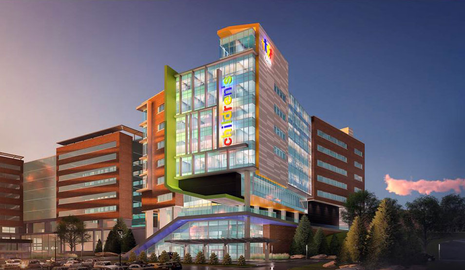Artist's rendering of the WVU Medicine Children's tower.