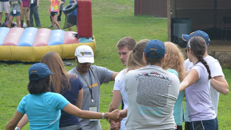 Team building exercise at orientation.
